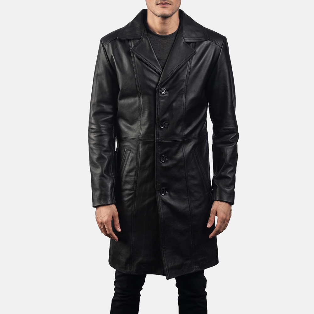 Mens Don Long Black Leather Coat 5