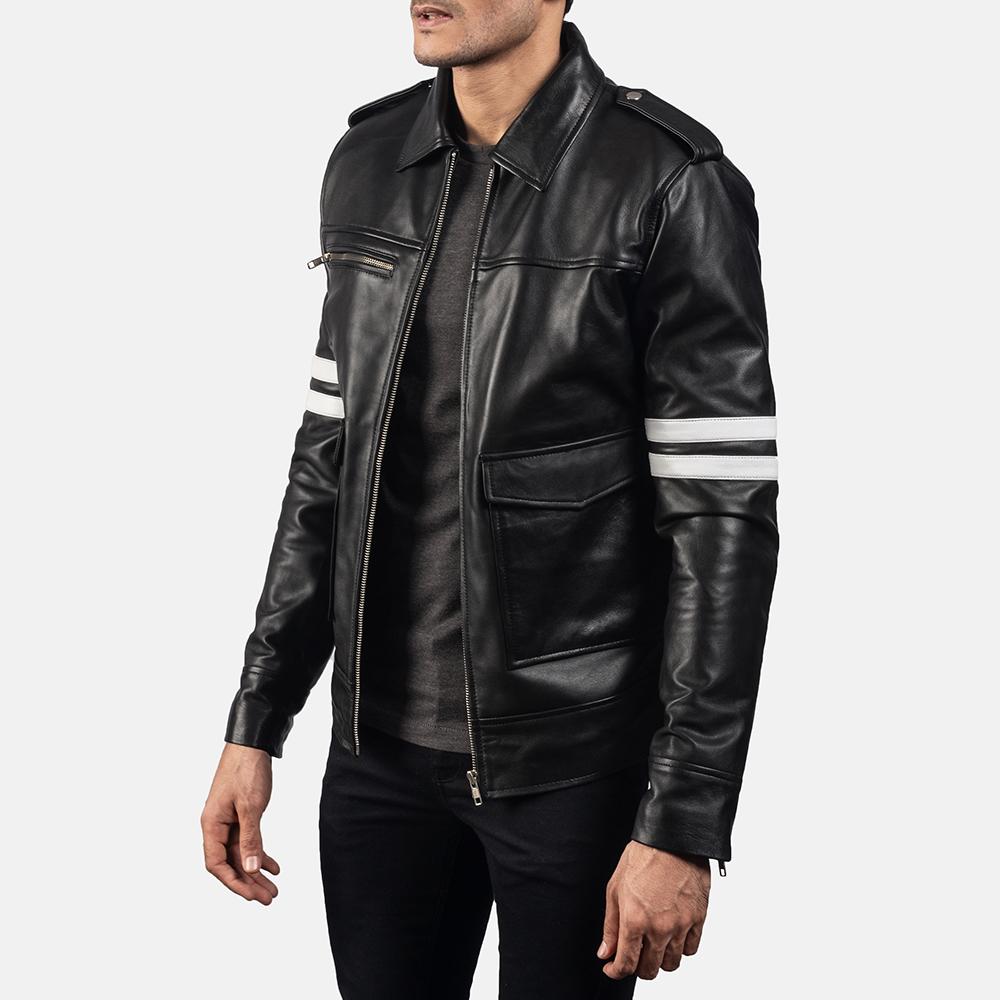 Mens Dragonhide Black Leather Jacket 2