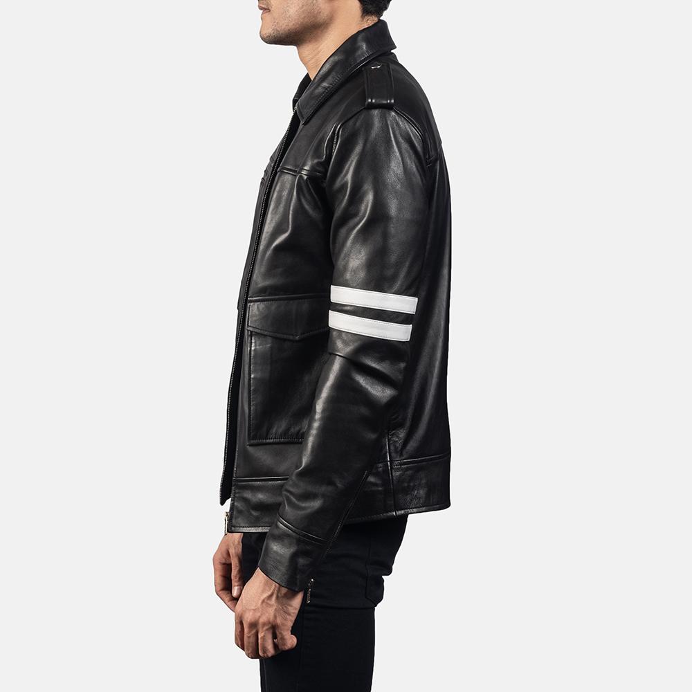 Mens Dragonhide Black Leather Jacket 3