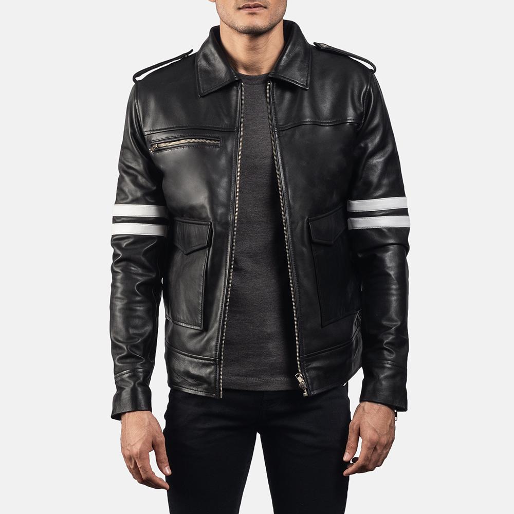 Mens Dragonhide Black Leather Jacket 1