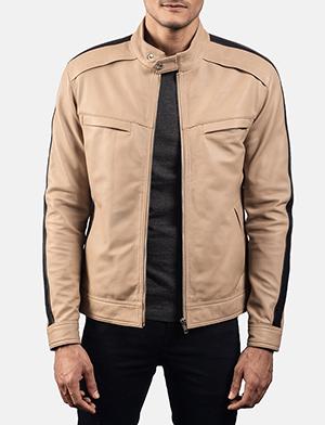 Mens Fathom White Leather Jacket