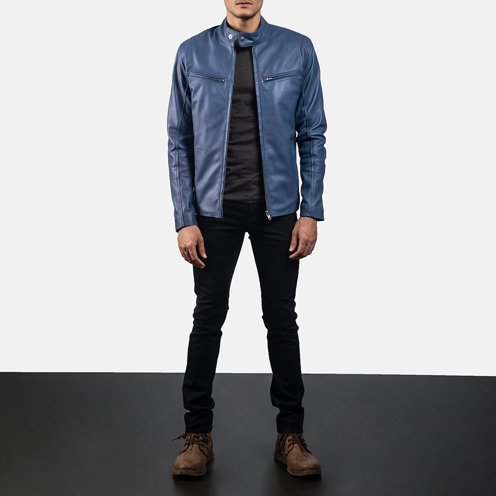 Mens Ionic Blue Leather Biker Jacket 6