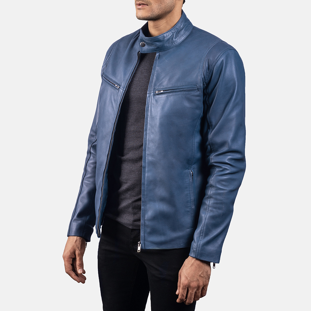 Mens Ionic Blue Leather Biker Jacket 2