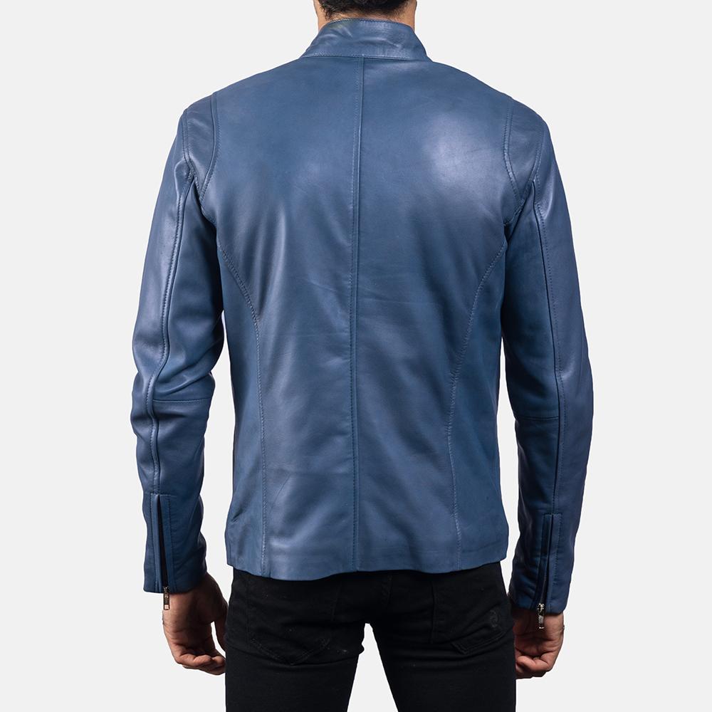 Mens Ionic Blue Leather Biker Jacket 4