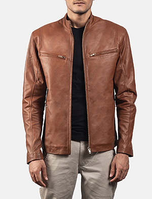 Mens Ionic Brown Leather Biker Jacket