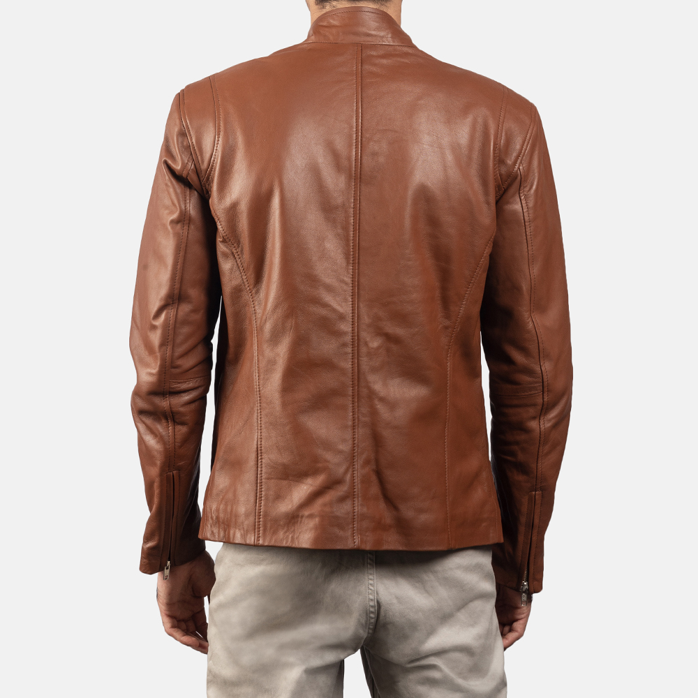 Mens Ionic Brown Leather Biker Jacket 4