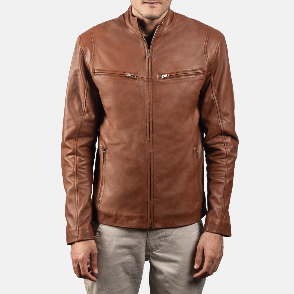 Mens Ionic Brown Leather Biker Jacket 5