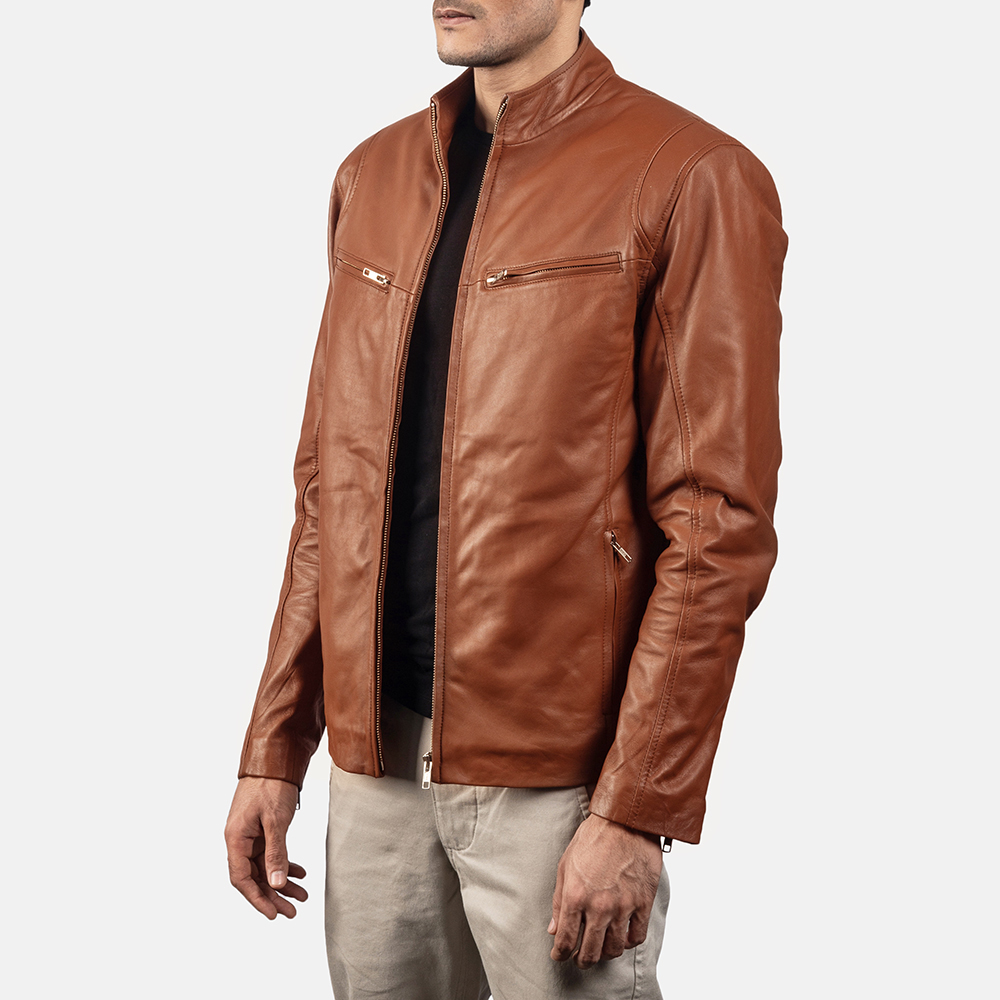 Mens Ionic Brown Leather Biker Jacket 2