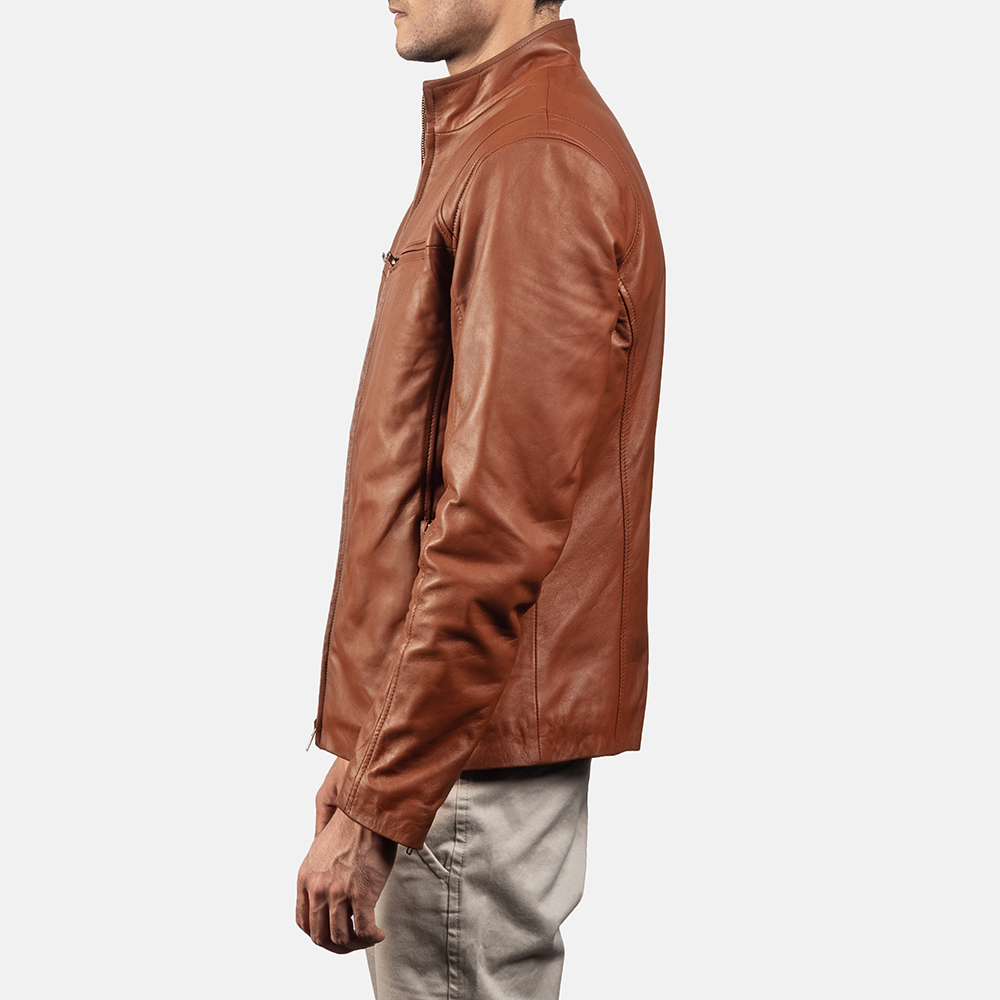 Mens Ionic Brown Leather Biker Jacket 3