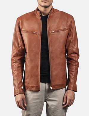 Mens Ionic Brown Leather Biker Jacket