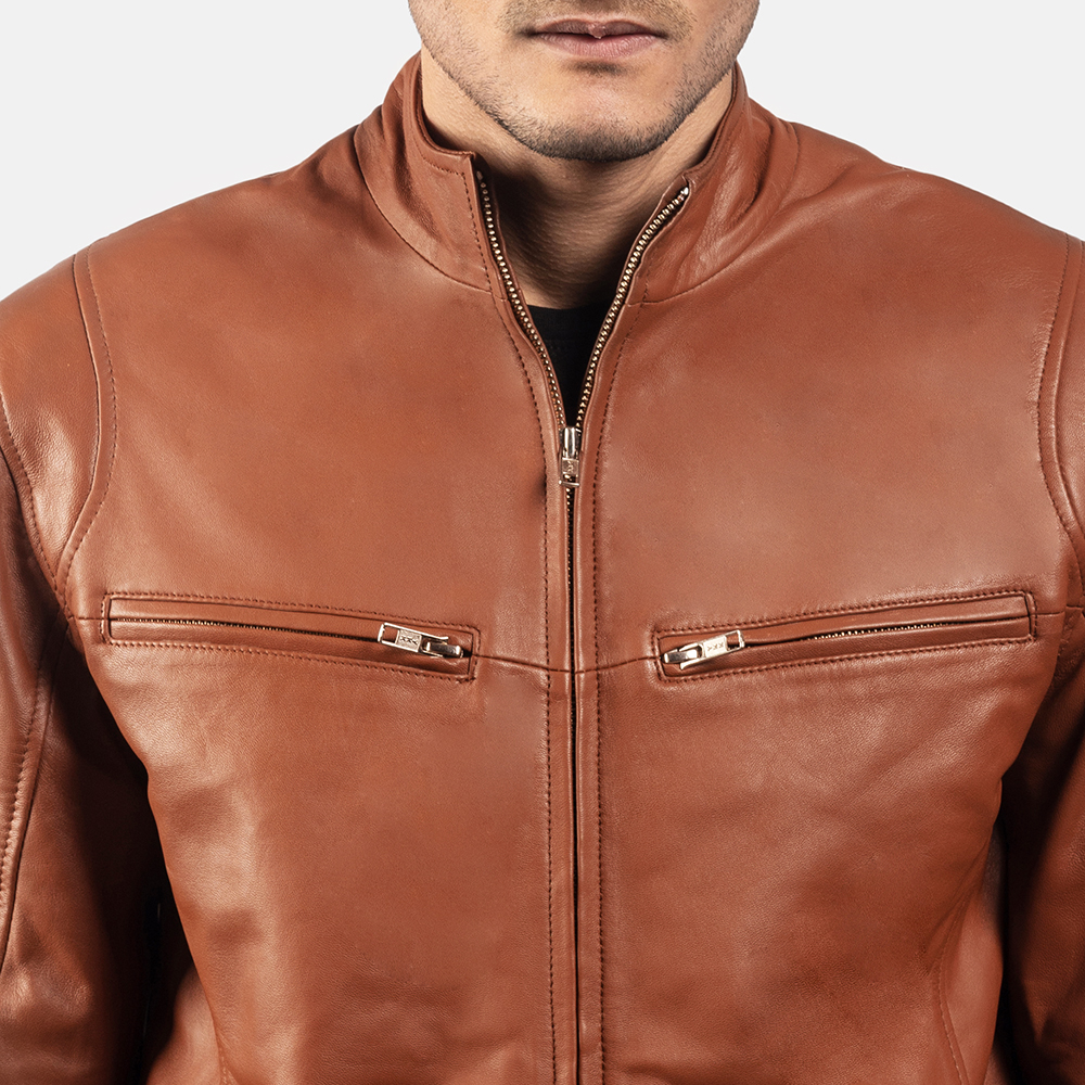 Mens Ionic Brown Leather Biker Jacket 6