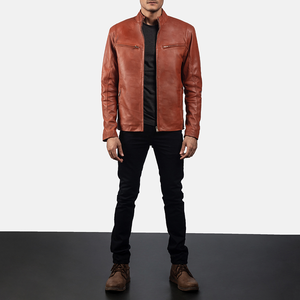 Mens Ionic Tan Brown Leather Biker Jacket 6