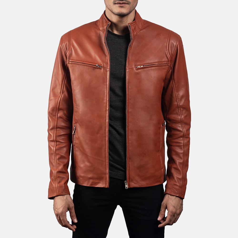 Mens Ionic Tan Brown Leather Biker Jacket 1