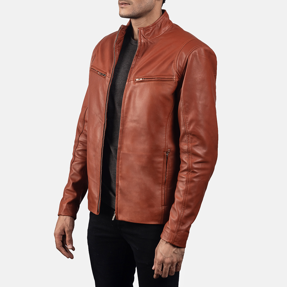 Mens Ionic Tan Brown Leather Biker Jacket 2
