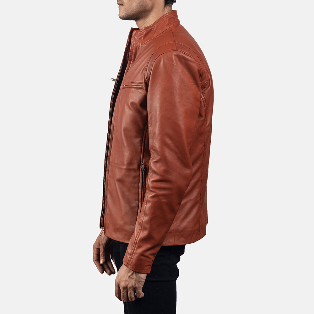 Mens Ionic Tan Brown Leather Biker Jacket 3