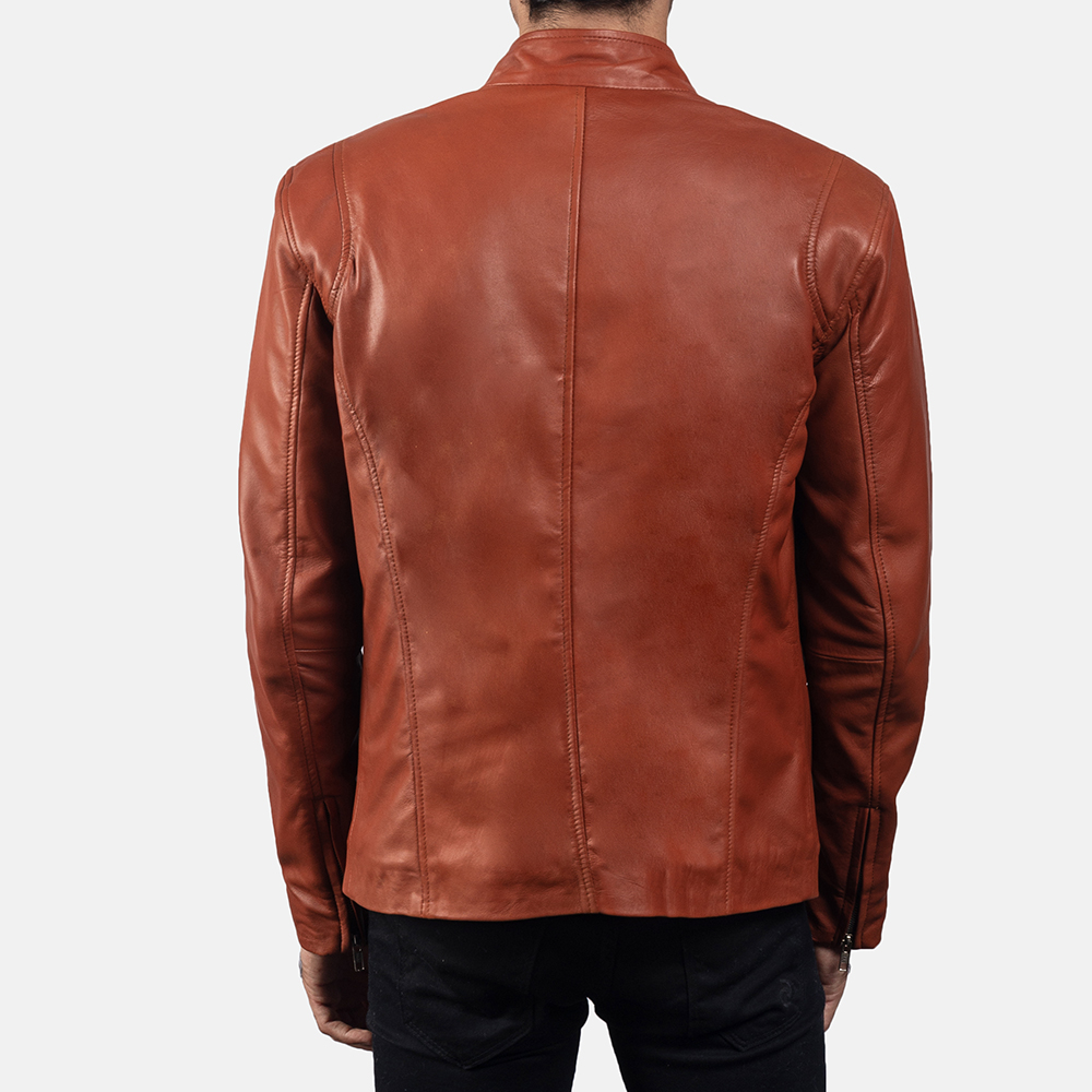 Mens Ionic Tan Brown Leather Biker Jacket 4