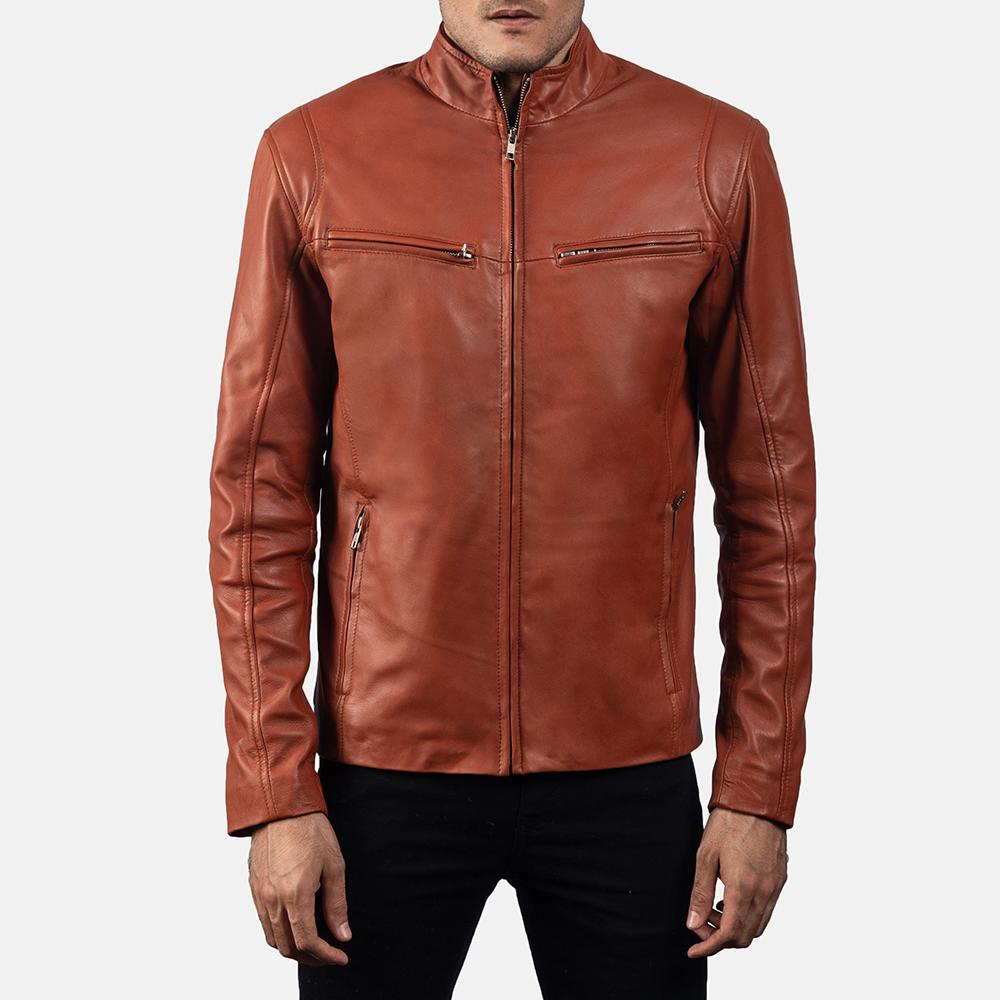 Mens Ionic Tan Brown Leather Biker Jacket 5