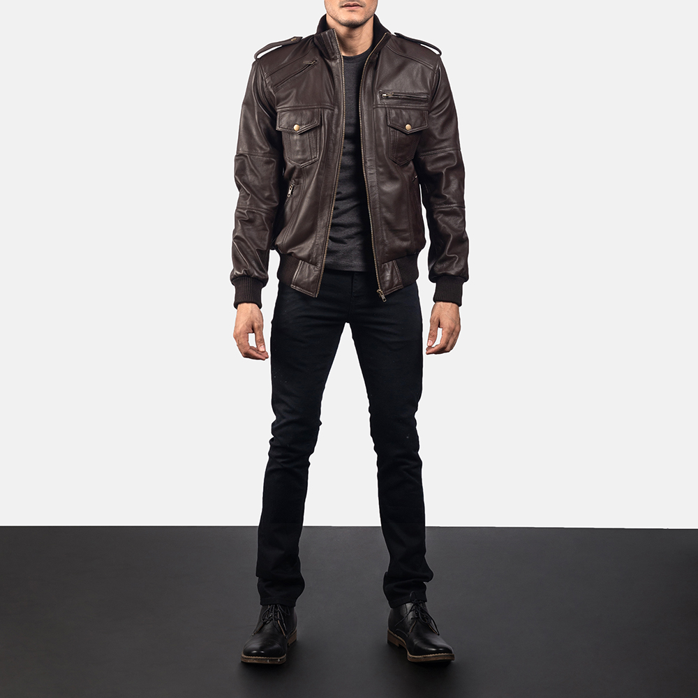 Mens Koke Brown Leather Bomber Jacket 6