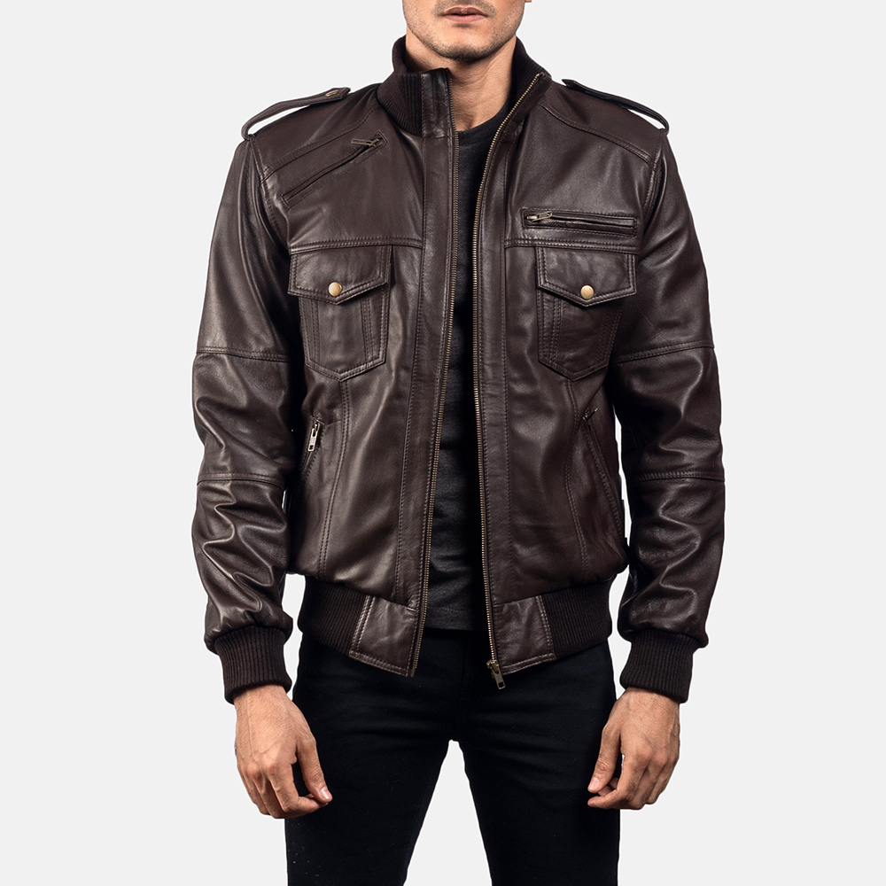 Mens Koke Brown Leather Bomber Jacket 1