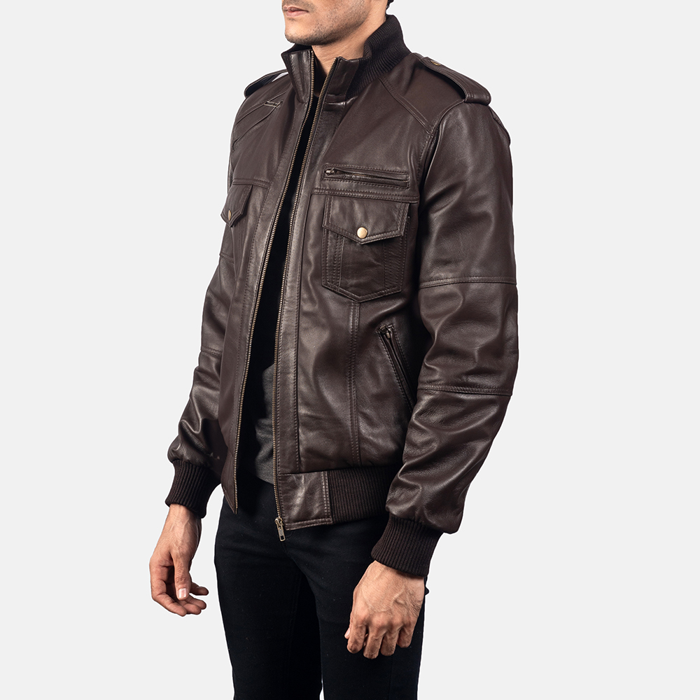 Mens Koke Brown Leather Bomber Jacket 2