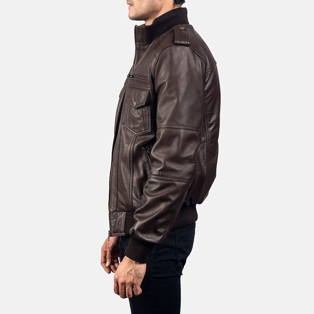 Mens Koke Brown Leather Bomber Jacket 3