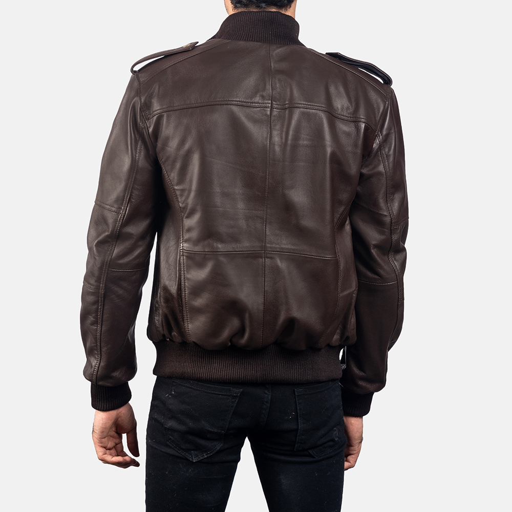Mens Koke Brown Leather Bomber Jacket 4