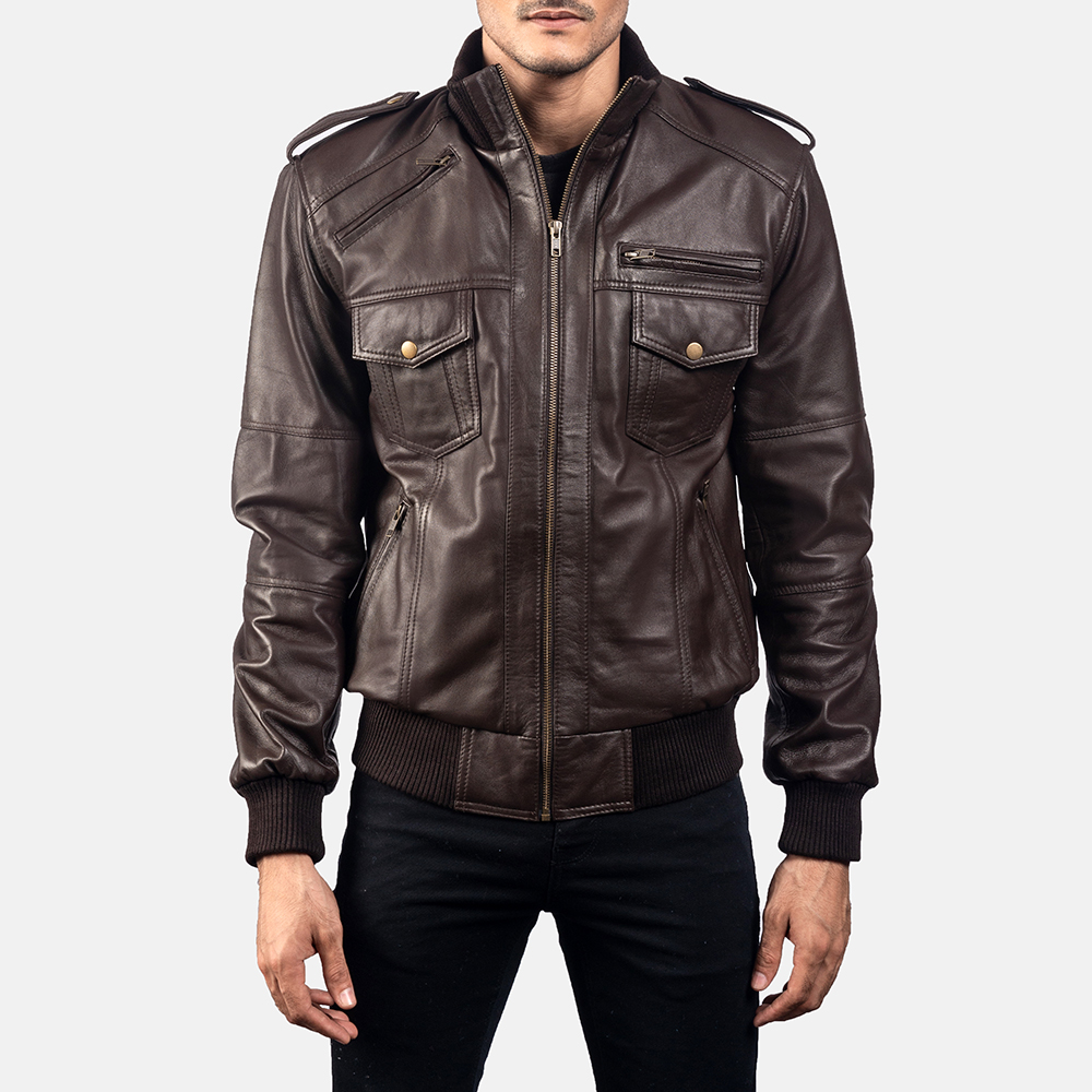 Mens Koke Brown Leather Bomber Jacket 5