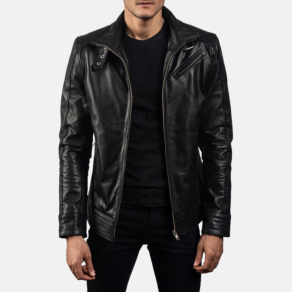 Mens Legacy Black Leather Biker Jacket 1