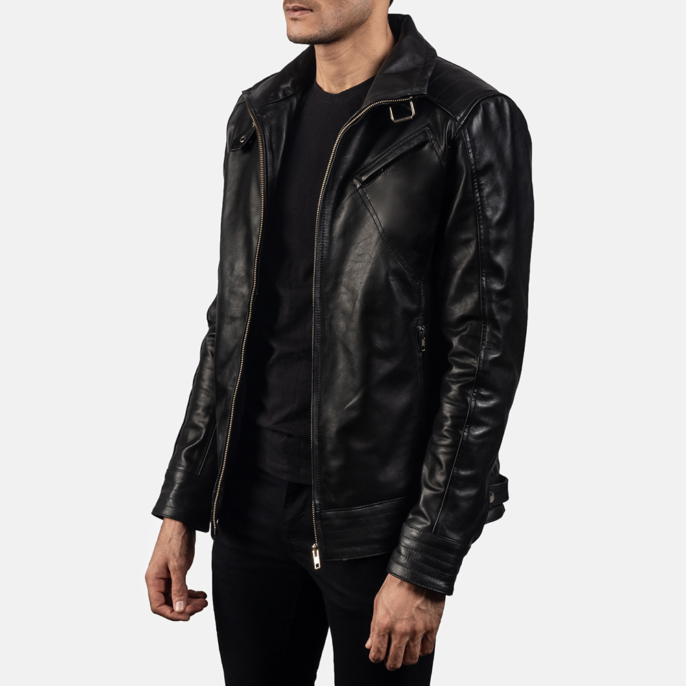 Mens Legacy Black Leather Biker Jacket 2