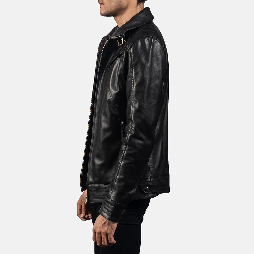 Mens Legacy Black Leather Biker Jacket 3