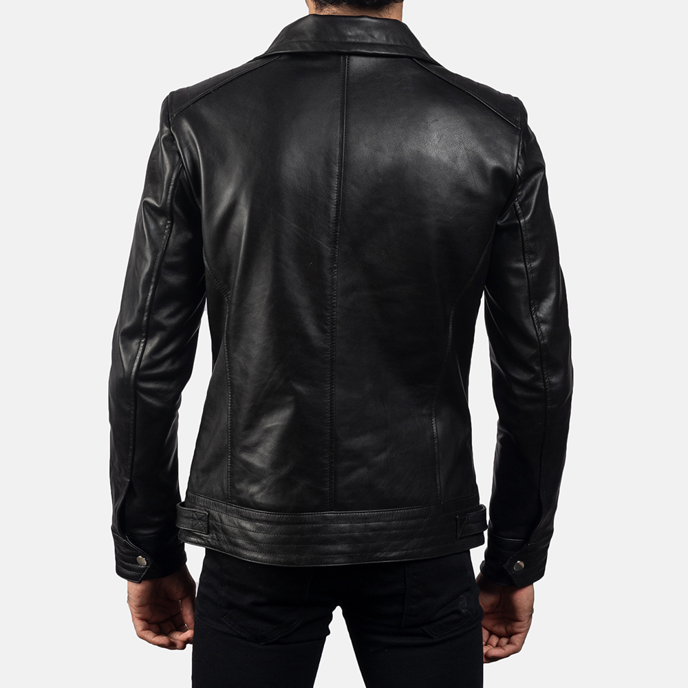 Mens Legacy Black Leather Biker Jacket 4