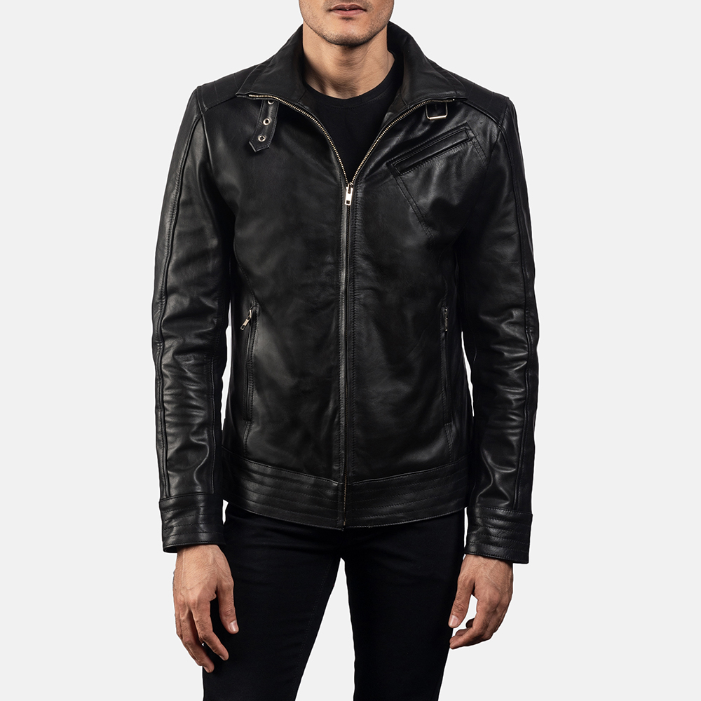 Mens Legacy Black Leather Biker Jacket 5