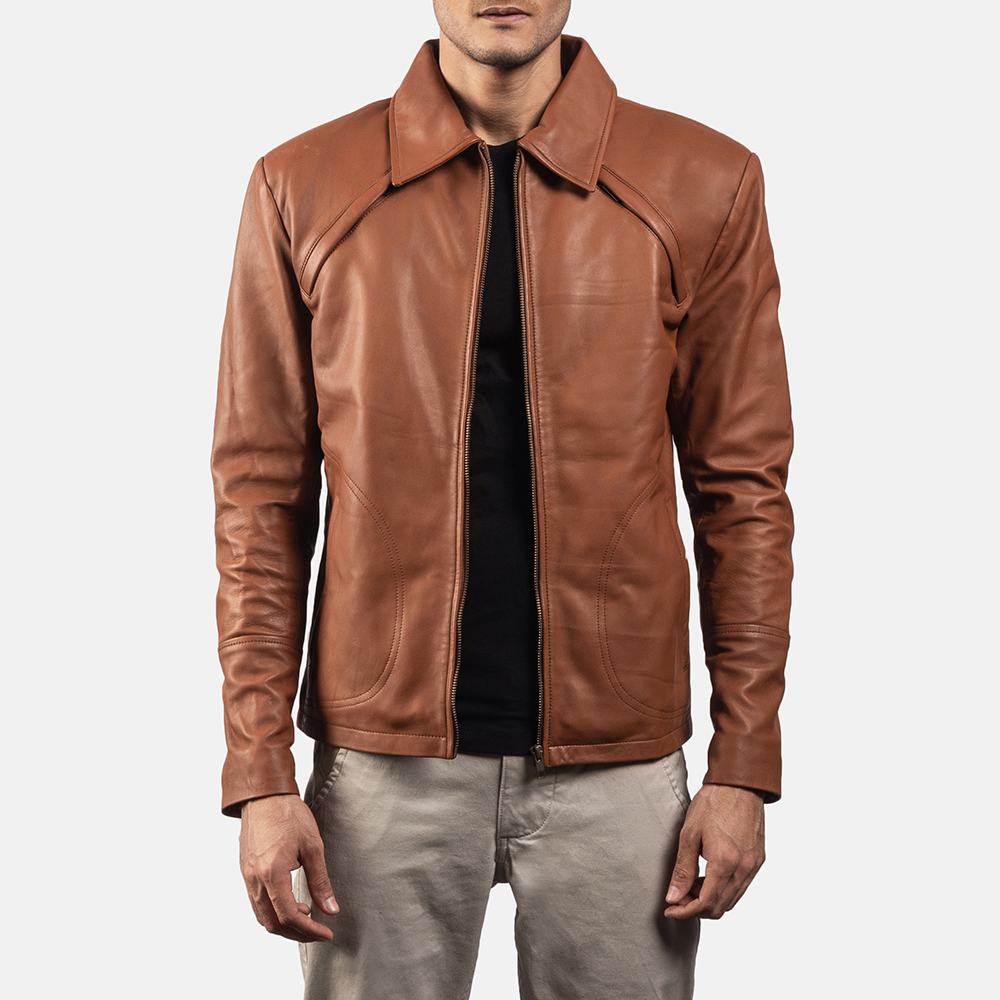 Mens Lenny Tan Brown Leather Jacket 1