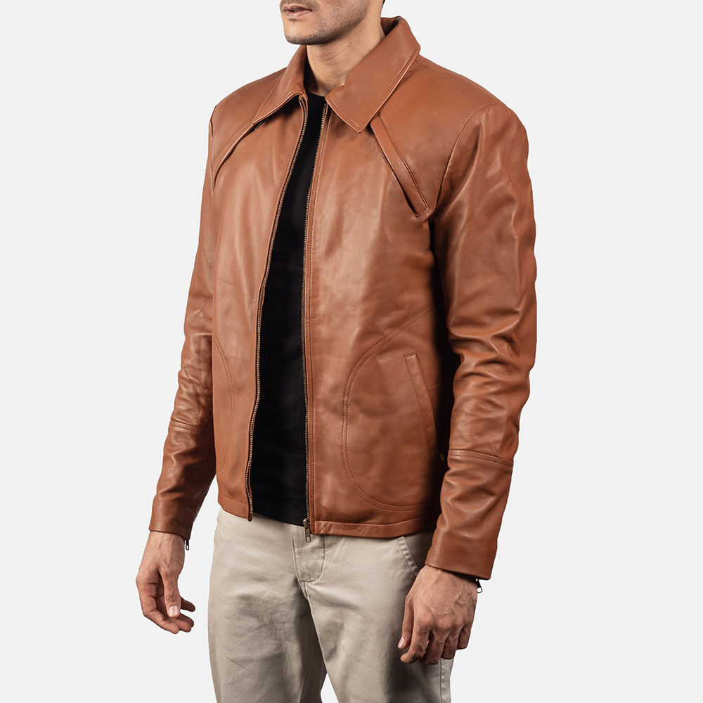 Mens Lenny Tan Brown Leather Jacket 2