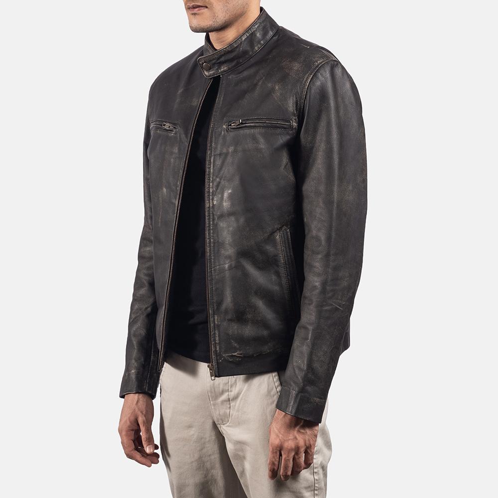 Mens Rustic Brown Leather Biker Jacket 2