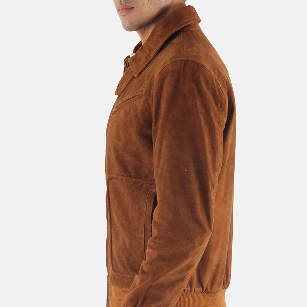 Mens Tomchi Tan Suede Leather Jacket 3