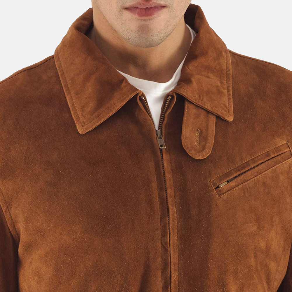 Mens Tomchi Tan Suede Leather Jacket 5