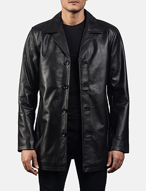 Mens urban slate black leather coat 1538552149575