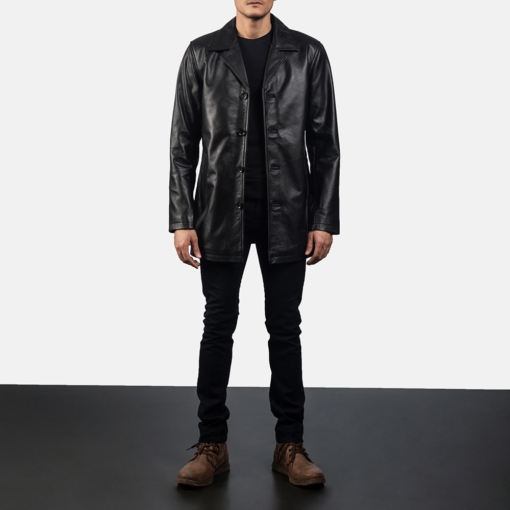 Mens Urban Slate Black Leather Coat 6