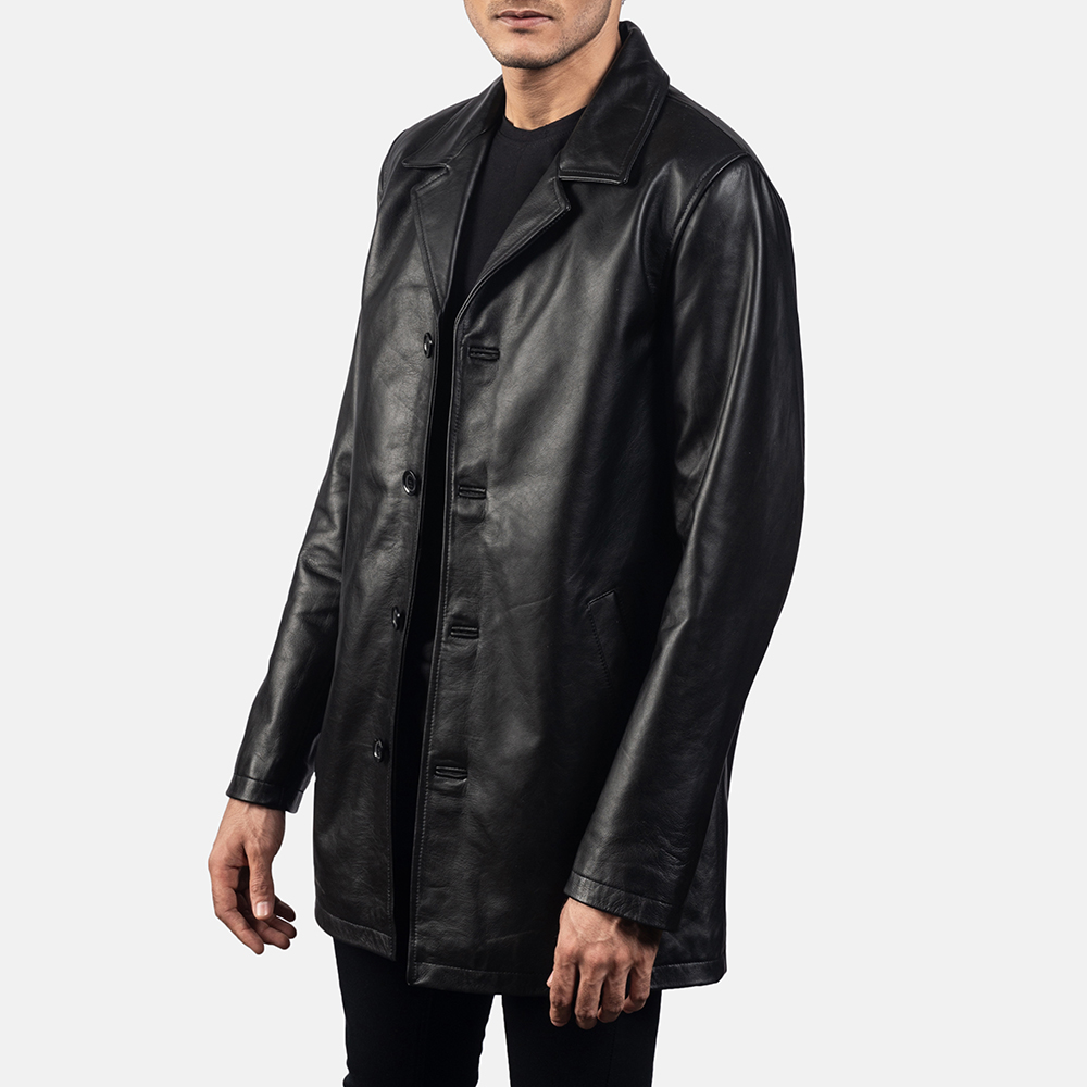 Mens Urban Slate Black Leather Coat 2