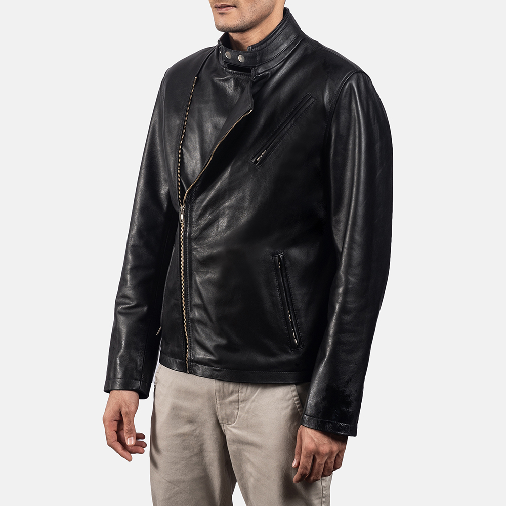 Mens Vivid Black Leather Biker Jacket 2