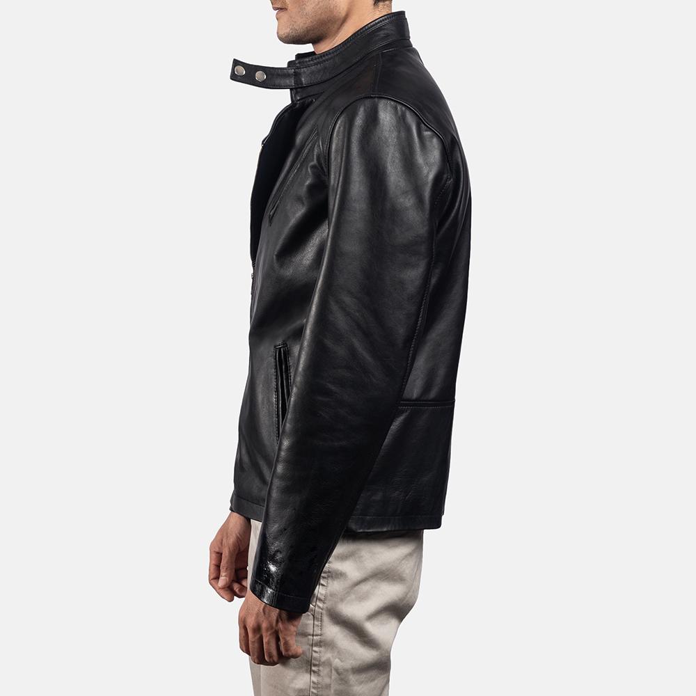 Mens Vivid Black Leather Biker Jacket 3