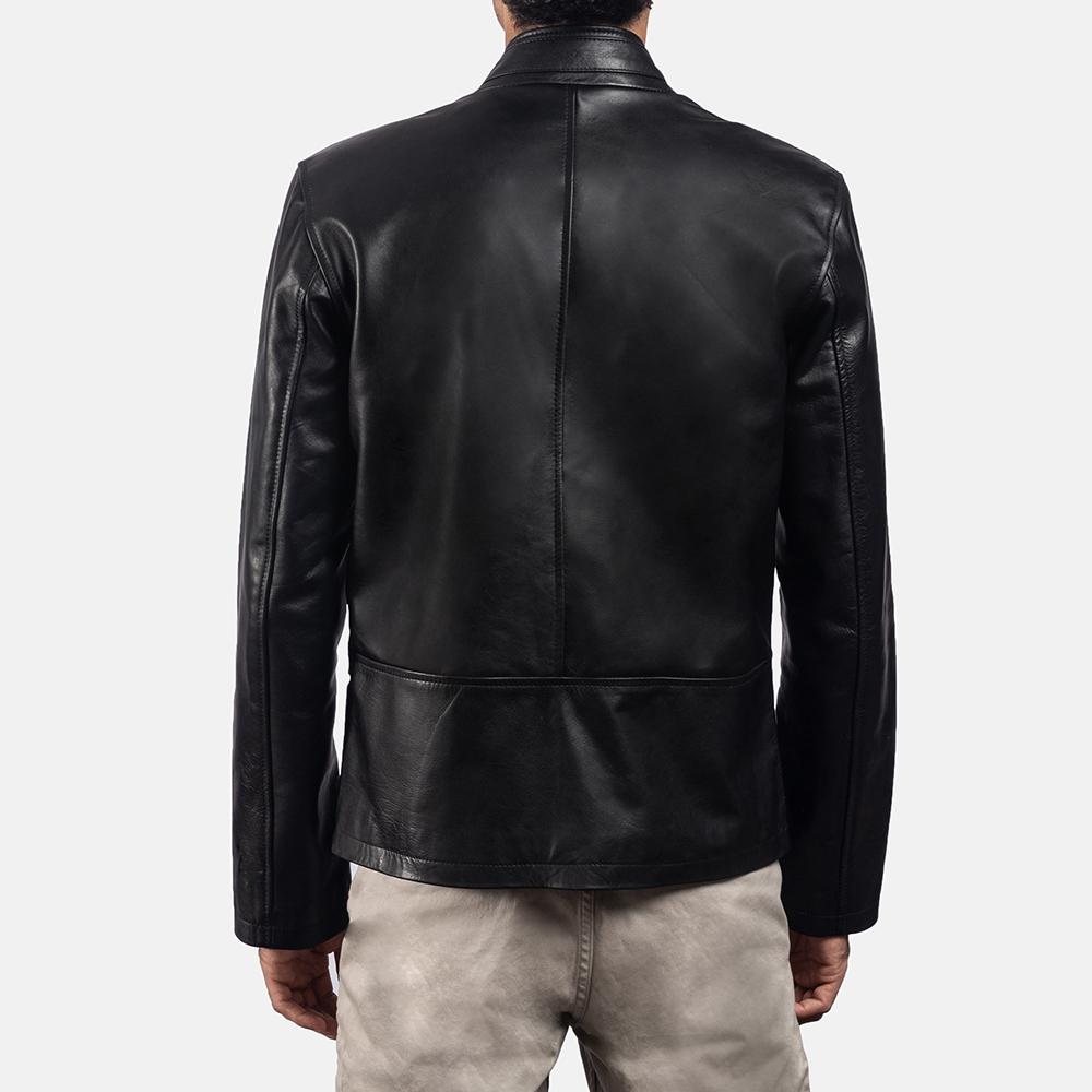 Mens Vivid Black Leather Biker Jacket 4