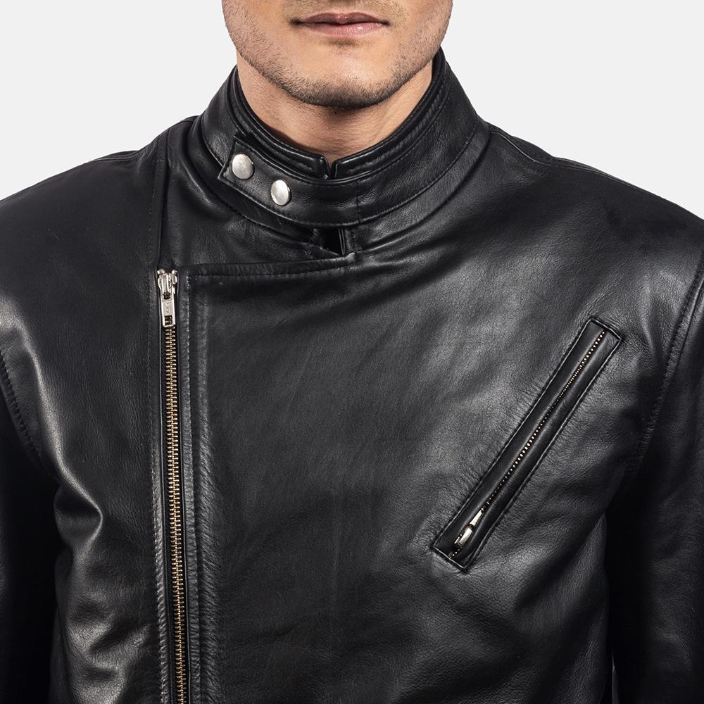 Mens Vivid Black Leather Biker Jacket 5