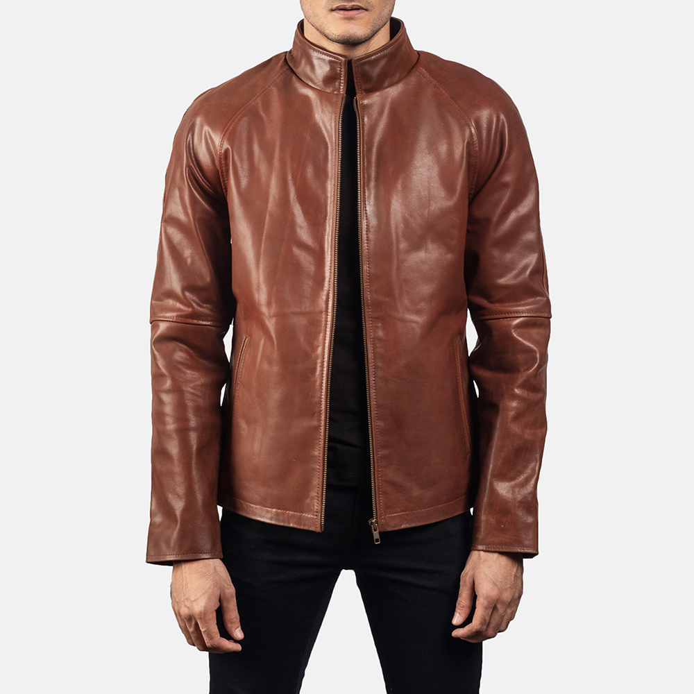 Mens Wilding Brown Leather Jacket 1