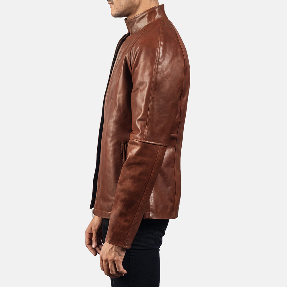 Mens Wilding Brown Leather Jacket 3