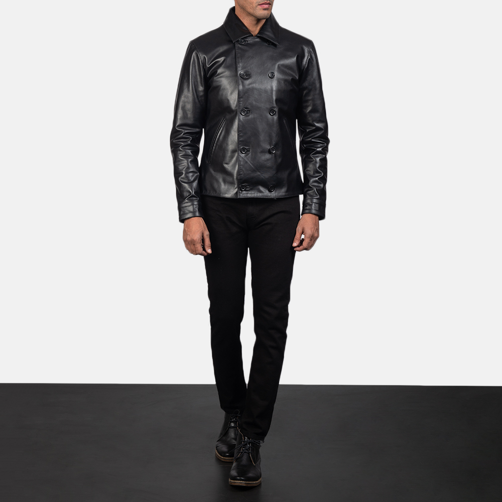 Men's Mod Black Leather Peacoat 1