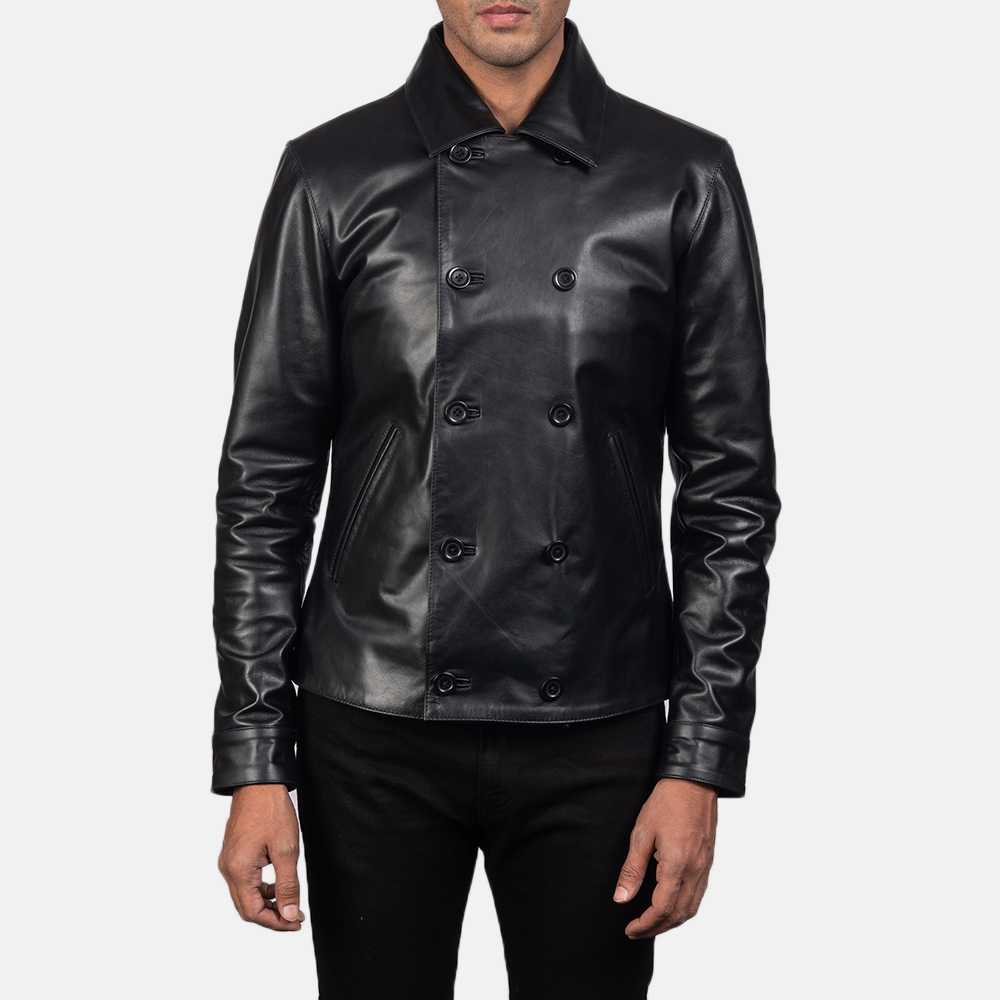 Men's Mod Black Leather Peacoat 2