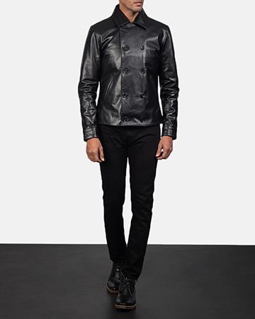 Men's Mod Black Leather Peacoat 1