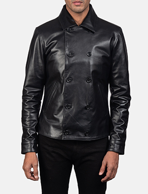 Men's Mod Black Leather Peacoat